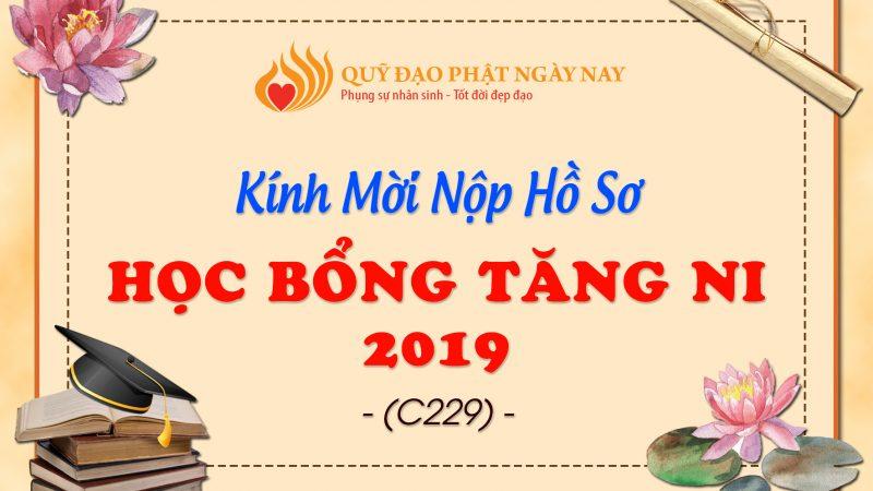 THÔNG BÁO TIẾP NHẬN HỒ SƠ HỌC BỔNG TĂNG NI 2019 (C229)